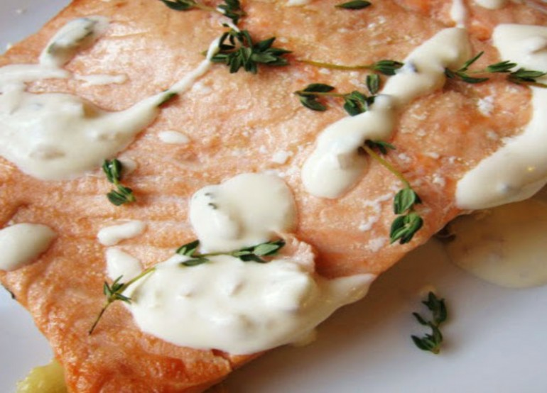 Salmon with Courgettes and Crème Fraîche