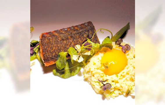 Loch Duart Salmon with Green Tea Rice and Egg Yolk