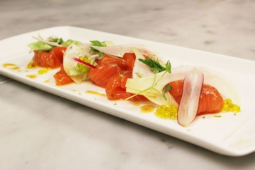 Ceviche of Loch Duart Salmon with fennel and soy dressing, spring onions and cresses