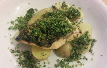 Grilled Loch Duart salmon with new potatoes and herb crumbs