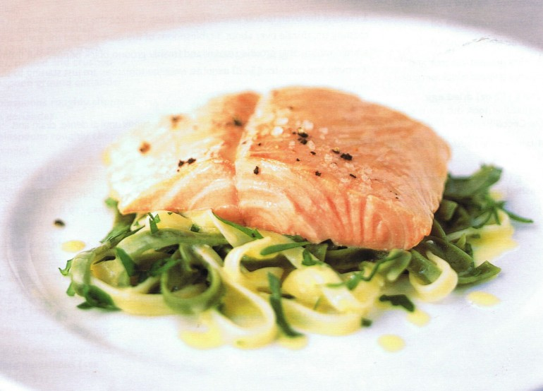 Baked Salmon with Tagliatelle and Lemon Butter