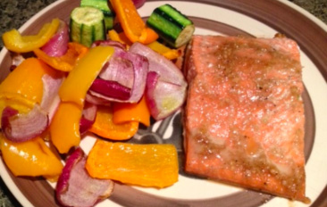Asian Ginger Salmon and Olive Oil Roasted Vegetables